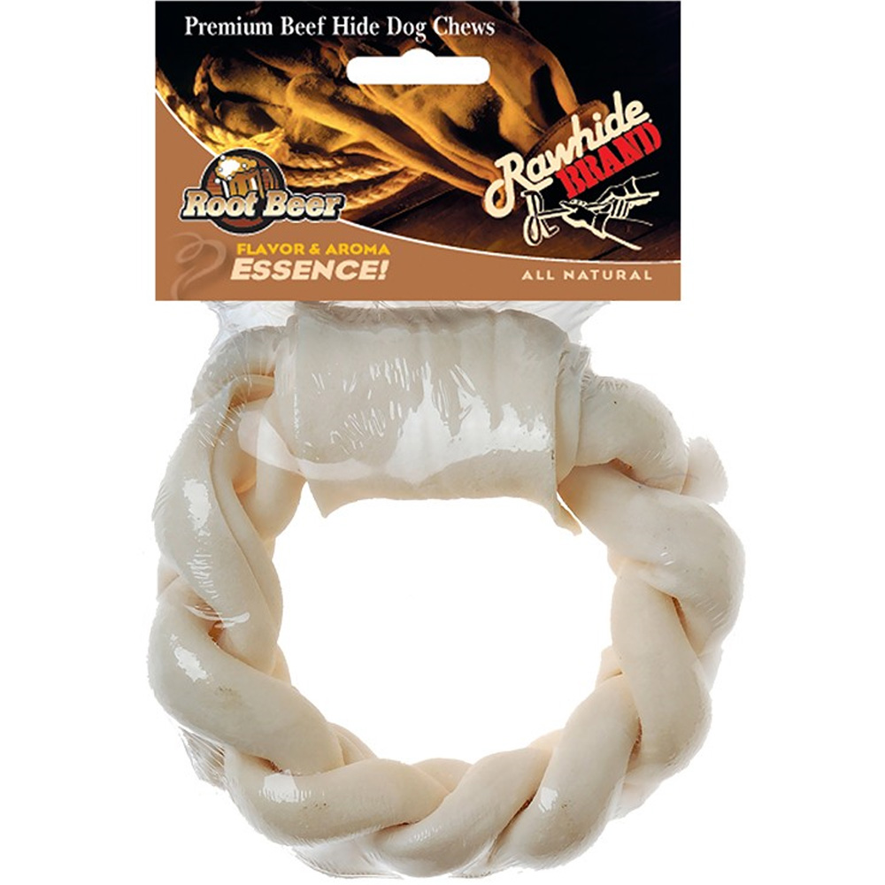 "Root Beer Twist 6"" Rawhide Braided Ring"