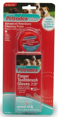 Sentry HC Petrodex Ultra Advanced Veterinary Cleaning Paste Kit (1 oz Jar/5 Gloves)