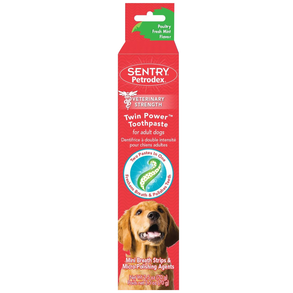 SENTRY Petrodex Twin Power Toothpaste for Adult Dogs - Poultry Fresh Mint (2.5 oz)