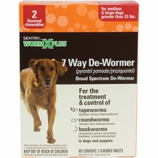 SENTRY HC WormX Plus 7 Way De-Wormer - Medium & Large Dogs over 25 lbs (6 count)
