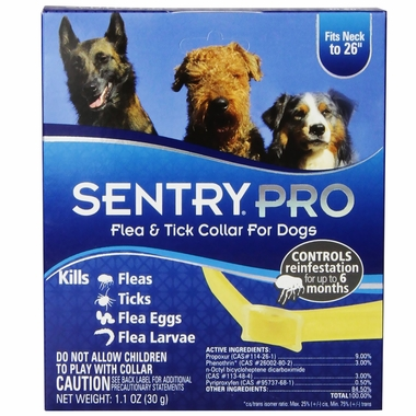 SentryPro Flea & Tick Collar for Dogs (fits neck to 26