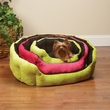 Slumber Pet Dimple Plush Nesting Bed Black/Green (26 In)