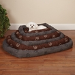 Slumber Pet Embroided Paw Print Crate Bed Charcoal - Large (14x24x15 In)