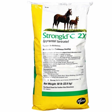 Strongid C 2X Pyrantel Tartrate 2.11% for HORSES (50 lbs)