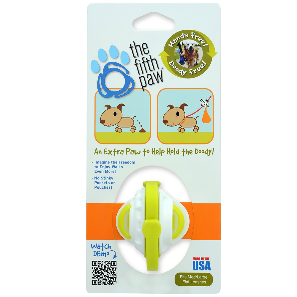 The Fifth Paw® - Hands Free Poop Bag Carrier Leash Attachment (Lime)