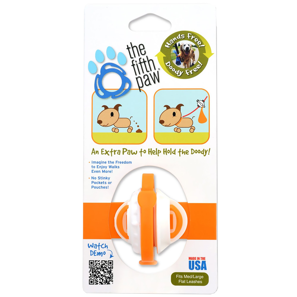 The Fifth Paw® - Hands Free Poop Bag Carrier Leash Attachment (Tangerine)