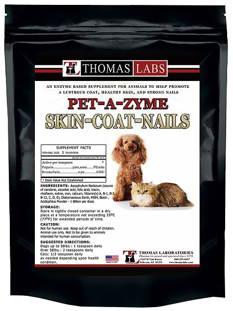 Thomas Labs Pet-A-Zyme Skin-Coat-Nails Powder (12 oz)