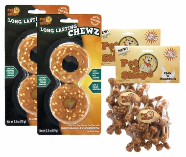 TREAT BUNDLE (2-Long Lasting Chewz Rings) + (2-Chik 'n Dumbbells)
