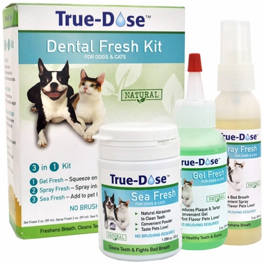 Must-Have Dog Dental Health Products True-Dose Dental Fresh Kit 3-in-1 for Dogs & Cats