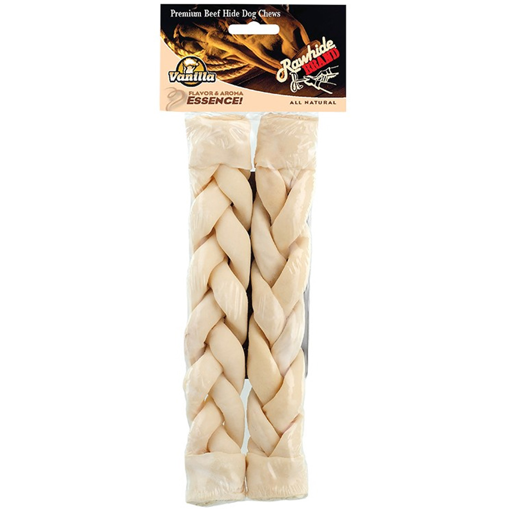 "Vanilla Twists 10"" Rawhide Braided Roll (2 Pack)"