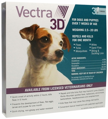 Vectra 3D S Dog 11 to 20 lbs 3-pack Teal