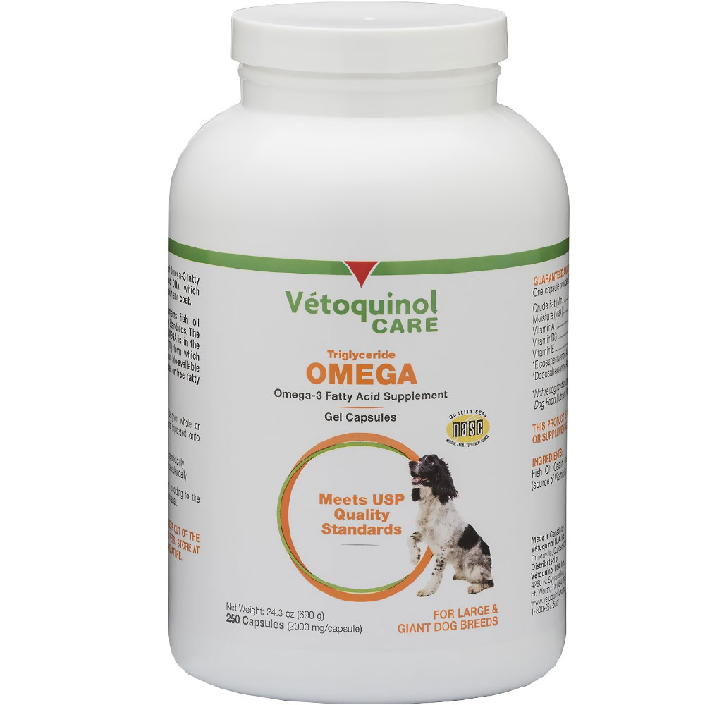 Vetoquinol Care Triglyceride Omega Supplement for Large & Giant Breeds (250 Capsules)