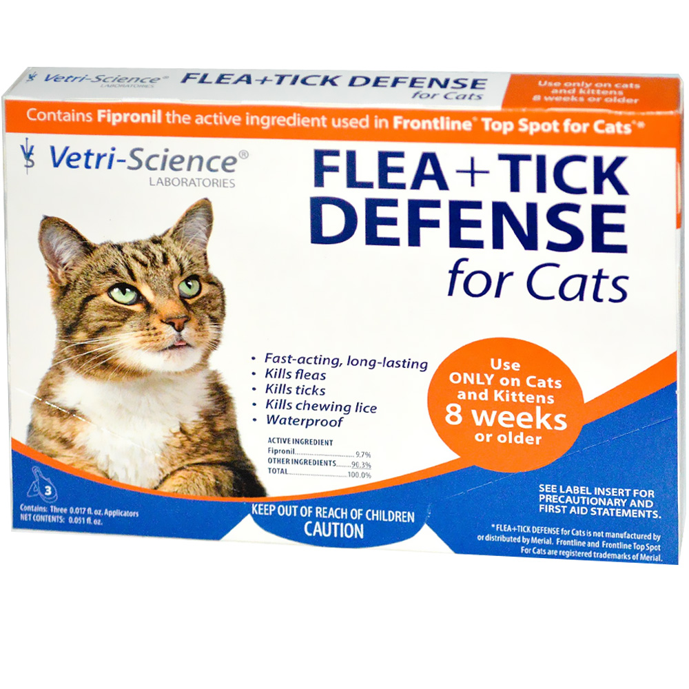 VetriScience Flea + Tick Defense for Cats and Kittens over 5 lbs - 3 Doses