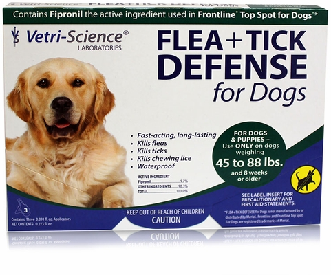 VetriScience Flea + Tick Defense for Dogs and Puppies 45 to 88 lbs - 3 Doses