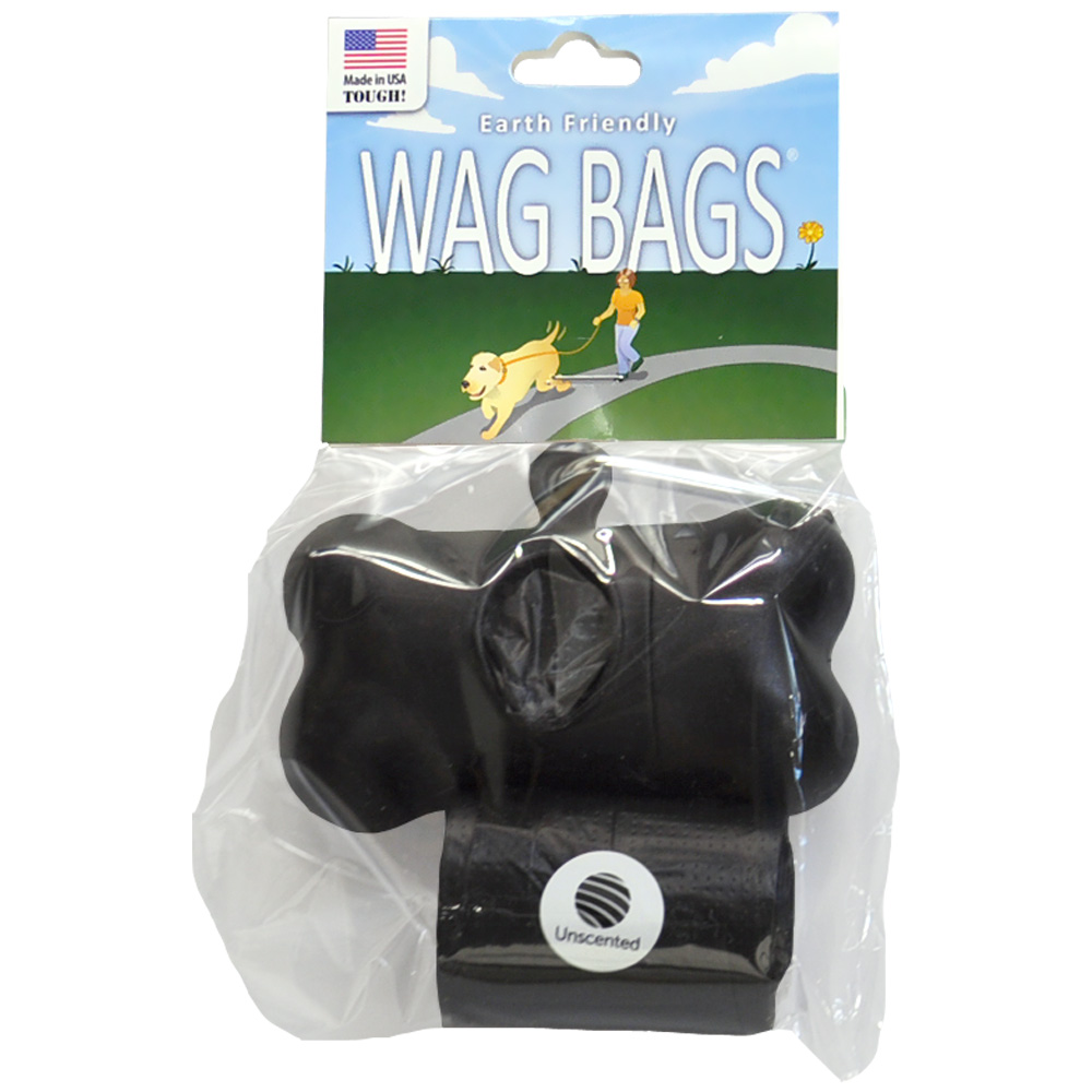 Wag Bags Dispenser Bone BLACK (30 Bags)
