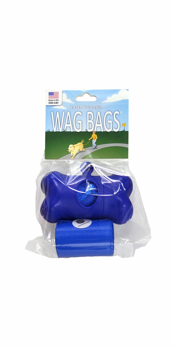Wag Bags Dispenser Bone - BLUE (30 Bags)