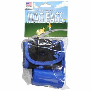 Wag Bags Soft Dispenser Paw Prints BLUE (30 Bags)