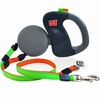 Wigzi Dual Retractable Leash Gray with Orange/Green Leads - Small
