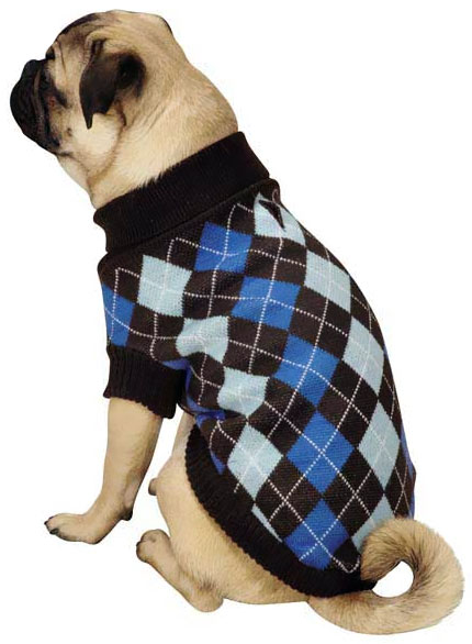 Zack & Zoey Argyle Prep Sweater Blue - LARGE