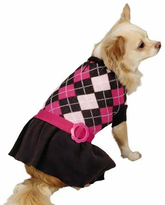 Zack & Zoey Argyle Prep Sweater Dress Pink - LARGE
