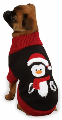 "Zack & Zoey Holiday Penguin Sweaters Black - M (16"")"