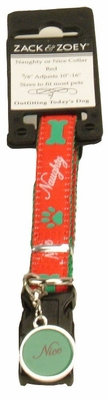Zack & Zoey Naughty or Nice Collar 10-16in (RED)