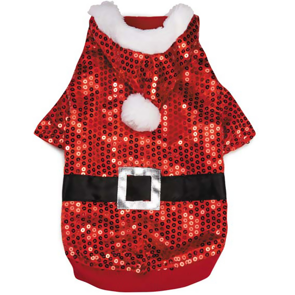 Zack & Zoey Santa Claus Sequin Hoodie Red - MEDIUM