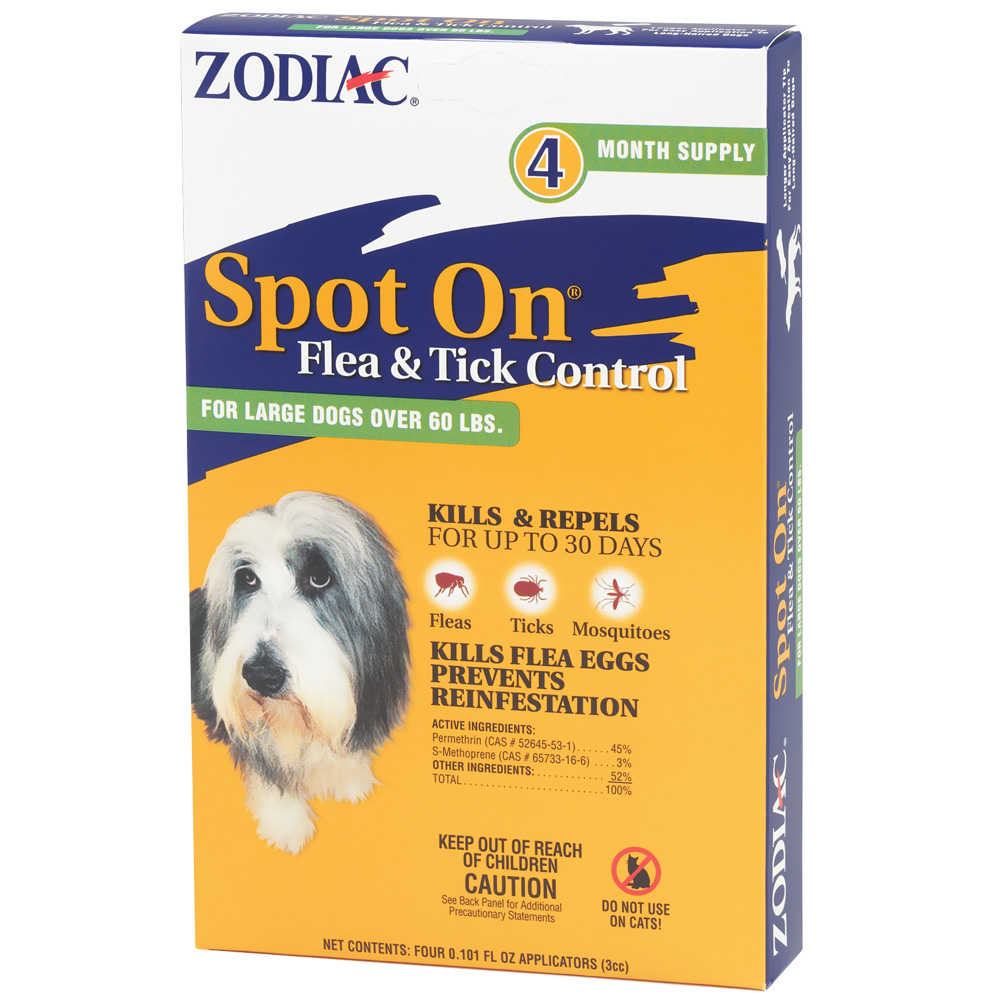 Zodiac Spot On Flea & Tick Control for Large Dogs over 60 lbs (4 pack)