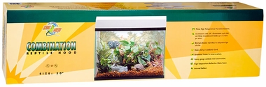 "Zoo Med Combination Reptile Hood 12""x30"" (3 Incandescent/24"" Fluorescent) - White"