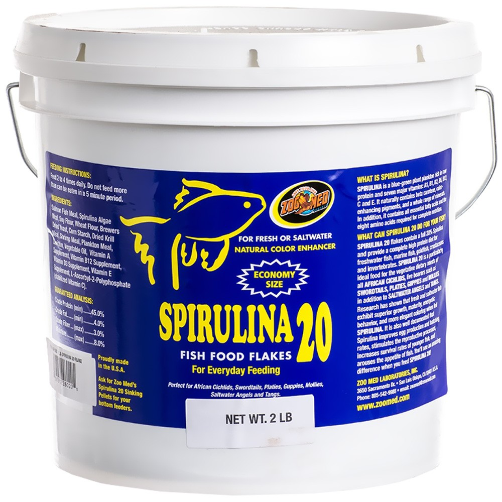 Zoo Med Spirulina 20 Fish Food Flakes & Sinking Sticks
