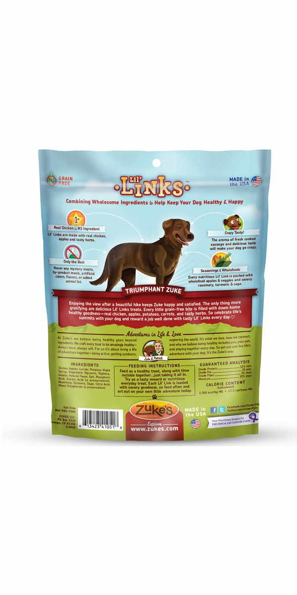 Zuke's Lil' Link Chicken & Apple Dog Treats (6 oz)