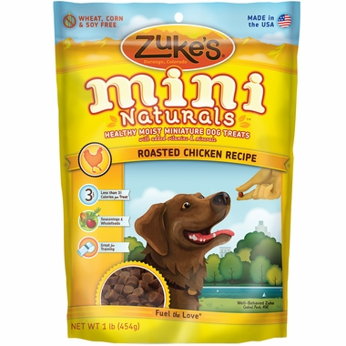 Zuke's Mini Naturals Moist Miniature Treats for Dogs - CHICKEN (1 lb)