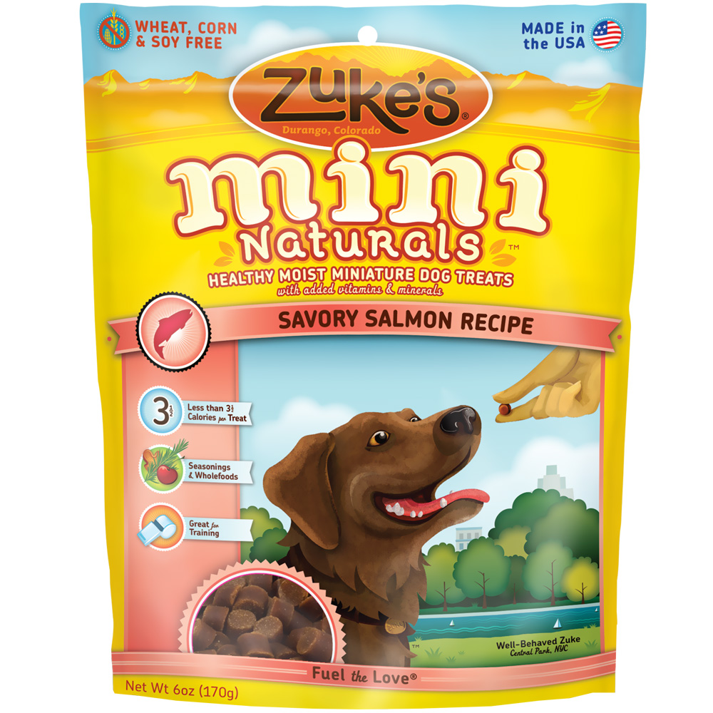 Zuke's Mini Naturals Moist Miniature Treats For Dogs - SALMON (6 oz)