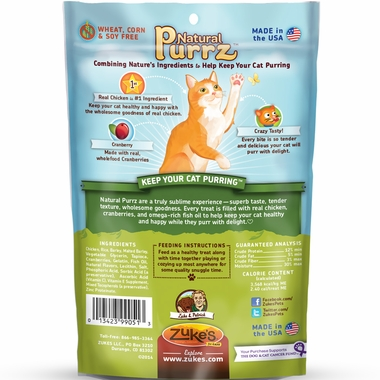 Zuke's Natural Purzz Healthy Moist Treats For Cats - CHICKEN (3 oz)