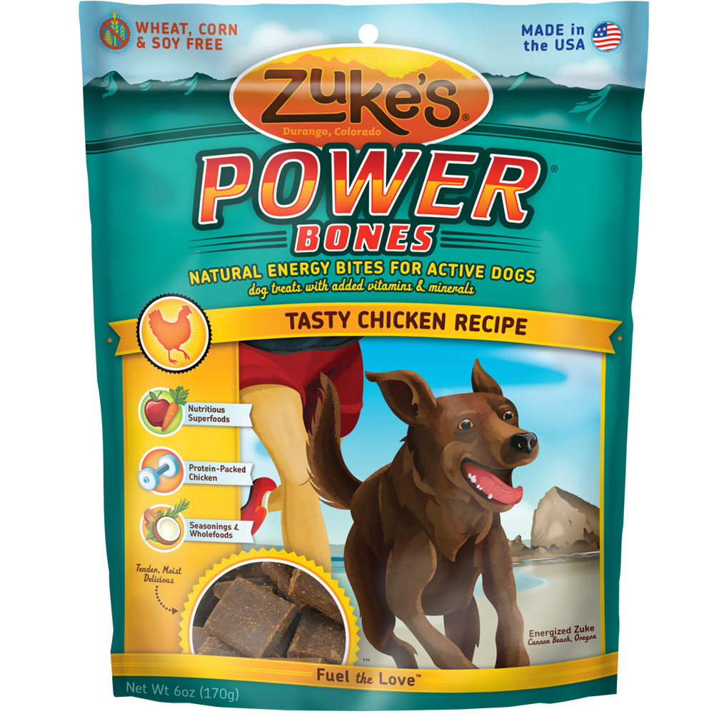 Zuke's Power Bones Natural Endurance Treats For Dogs - CHICKEN (6 oz)