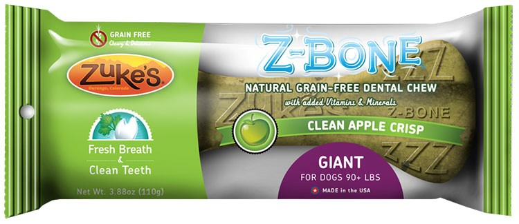 Zukes Z-Bones Edible Dental Chews Giant Clean Apple Crisp (5.25 oz)