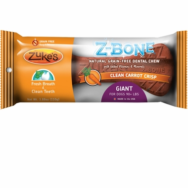 Zukes Z-Bones Edible Dental Chews Giant Clean Carrot Crunch (5.25 oz)