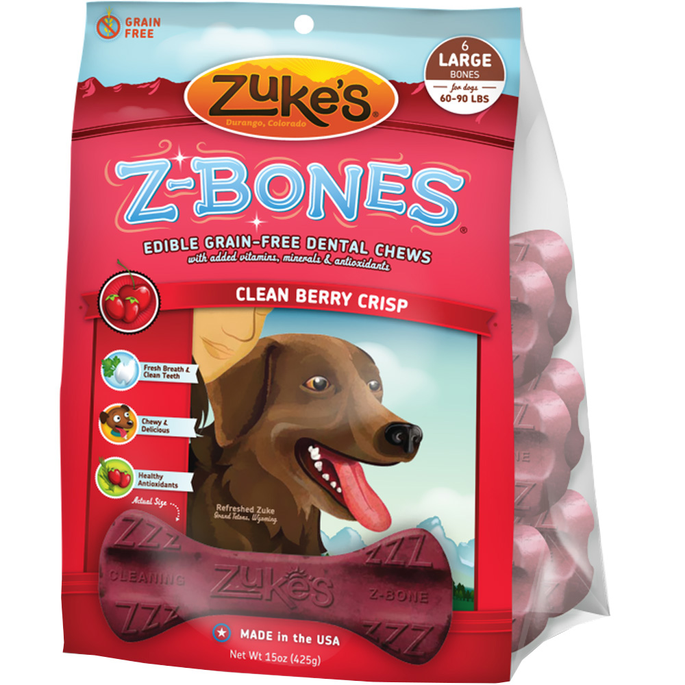 Zukes Z-Bones Edible Dental Chews Large Clean Cherry Berry - 6 ct (15 oz)