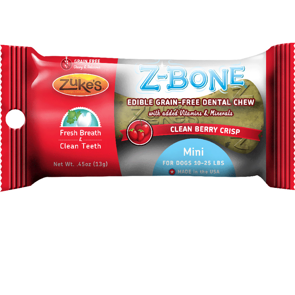 Zukes Z-Bones Edible Dental Chews Mini Clean Cherry Berry (0.5 oz)