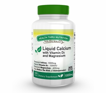 Liquid Calcium and Magnesium with 1000 IU of Vitamin D3 (100 Softgels)