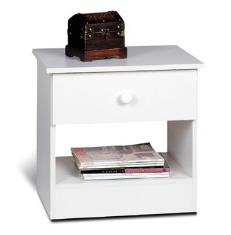 1 Drawer Night Stand in White - Prepac Furniture - WHD-2020-1