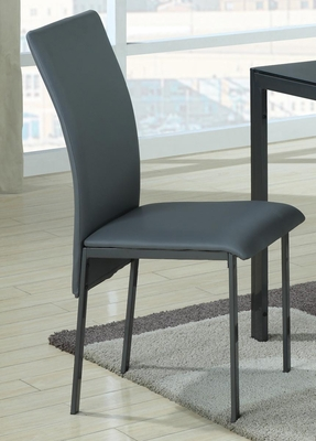 103740 Contemporary Charcoal Vinyl Dining Chair - Set of 2 - 103742