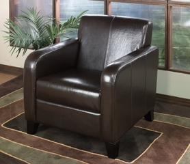 1400 Club Chair in Brown Leather - Armen Living - LCMS0011DB