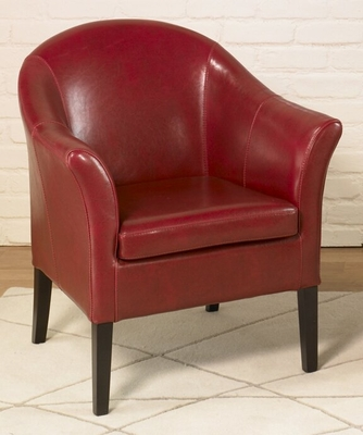 1404 Club Chair in Red Leather - Armen Living - LCMC001CLRE