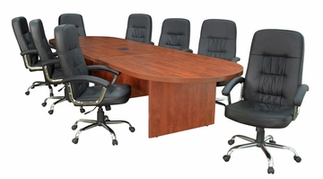 "144"" Legacy Conference Table with 8 Carrera 1040 Swivel Chairs - ROF-LCTRT144521040BK"