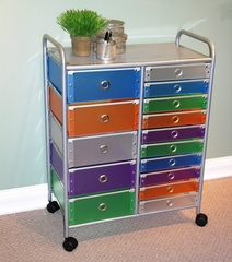 15 Drawer Rolling Storage with Multi Color drawers - 4D Concepts - 363024