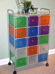 15 Drawer Rolling Storage with Multi Color drawers - 4D Concepts - 363025