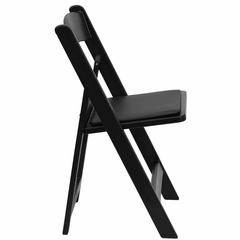 1500 lb HERCULES Black Resin Folding Chair - Black Vinyl Seat - LE-L-1-BLACK-GG