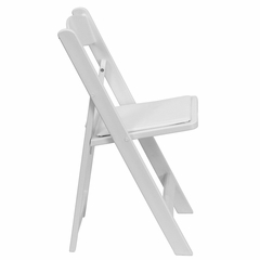 1500 lb HERCULES White Resin Folding Chair - White Vinyl Padded Seat - LE-L-1-WHITE-GG