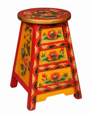 "18"" Tibetan Accent / End Table with Painted Flowers in Yellow / Red - frc1018"